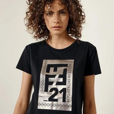 ACCESS Βαμβακερό Τ-shirt με FFF_21 foil τύπωμα - S1-2047