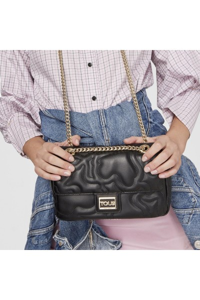 TOUS KAOS DREAM Μεγάλη χιαστί τσάντα με καπάκι σε μαύρο χρώμα