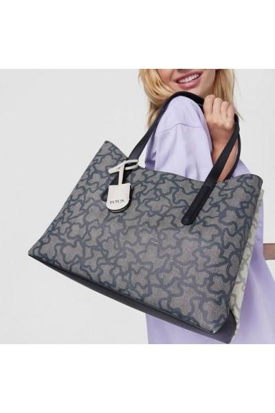 TOUS KAOS ICON Μεγάλη Shopper Τσάντα σε μαύρο και λευκό χρώμα