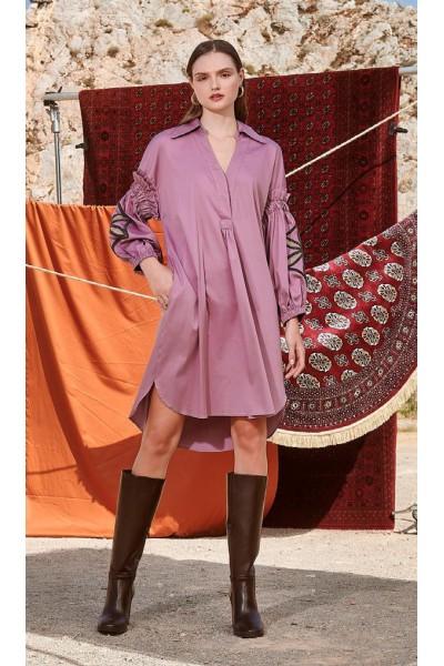 NEMA HELVIA Φόρεμα με κέντημα στο μανίκι N420-05900