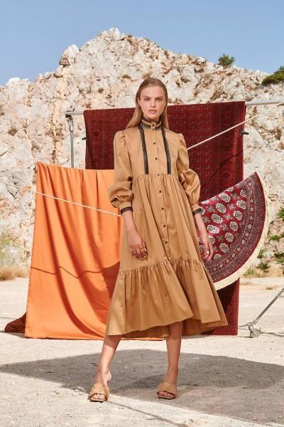 NEMA MARCELLA MAXI  Φόρεμα με κλειστό γιακά με πλέξη και βολάν επίπεδα N416-1420