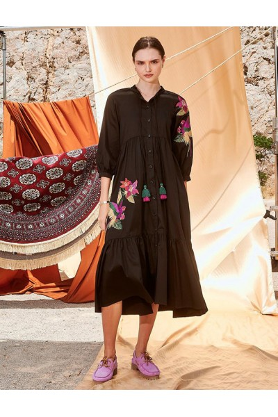 NEMA VIBIANA Maxi Φόρεμα με κέντημα