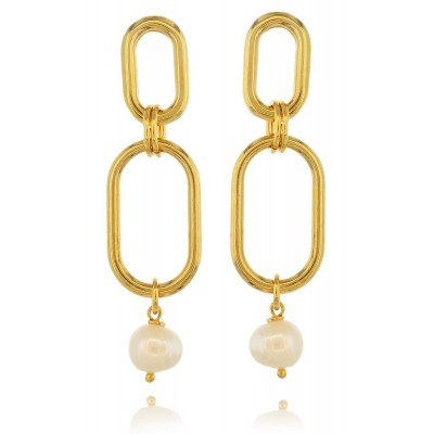 Oval & Pearls Earrings
