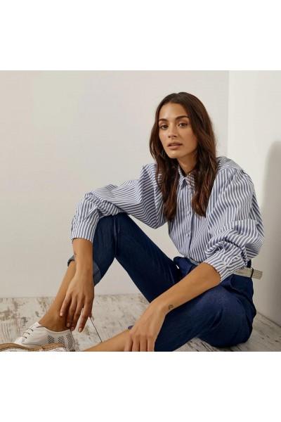 ACCESS Κοντό ριγέ πουκάμισο με φουσκωτά μανίκια  S1-7005