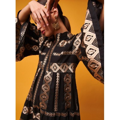 NEMA NADINE DRESS GOLDEN EMBROIDERY