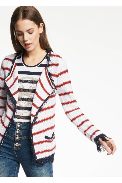 GAUDI STRIPED COTTON BLEND CARDIGAN