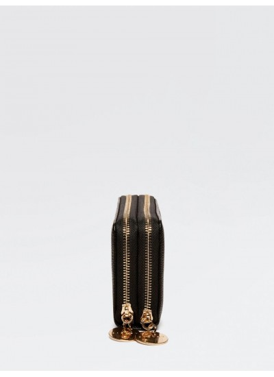 SISLEY Πορτοφόλι με δύο θήκες σε μαύρο χρώμα