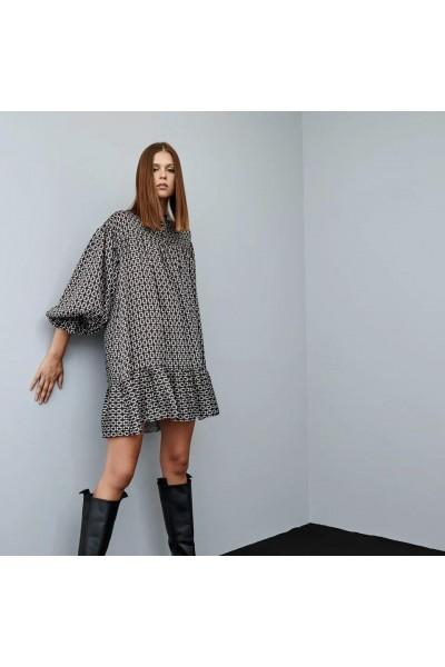 ACCESS Φόρεμα με allover print και βολάν - W1-3073