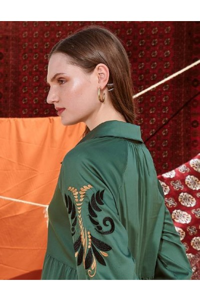 NEMA LAURENTIA Maxi Φόρεμα με κέντημα στο μανίκι N412-07400