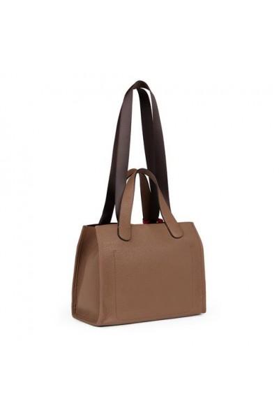 TOUS LEISSA TOTE Bag από καφέ Δέρμα με κόκκινο διακοσμητικό μενταγιόν