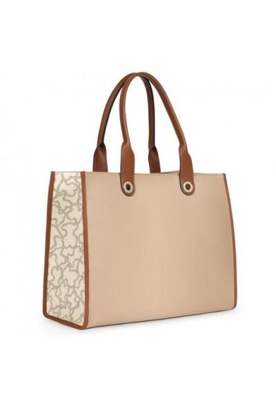 TOUS AMAYA KAOS ICON Large Shopper Τσάντα σε Μπέζ χρώμα