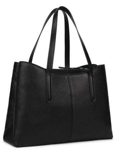 TOUS ICON Shopper Τσάντα από μαύρο δέρμα με σουέντ φινίρισμα