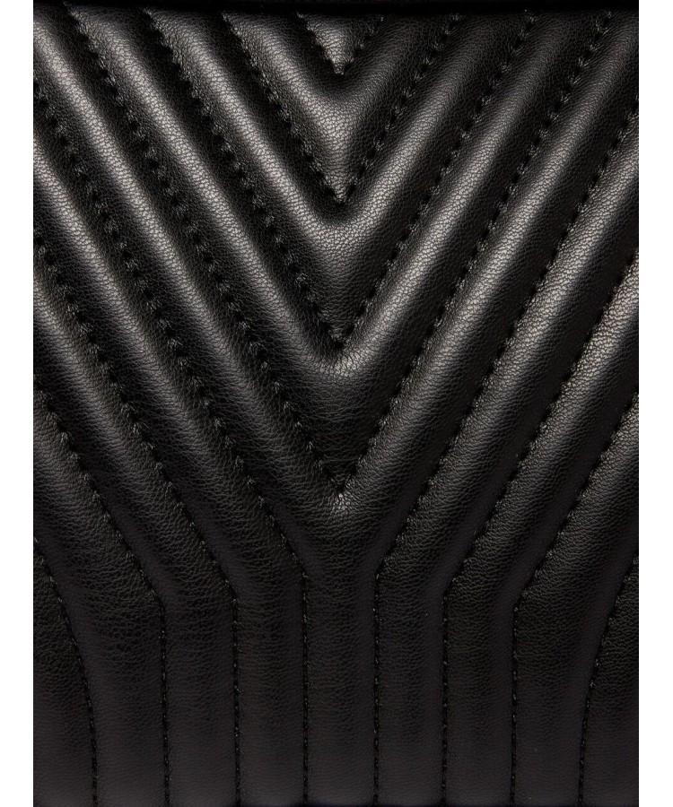 SISLEY καπιτονέ τσαντάκι χιαστί σε μαύρο χρώμα